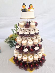 Maui Cupcake Wedding Tower by Cupcake Ladies Catering Co.